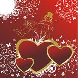 Hearts with cupids. Three hearts on a red background with an ornament and two cupids Stock Photo