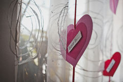Hearts and curtains.Hearts and curtains.Hearts and curtains. Royalty Free Stock Image