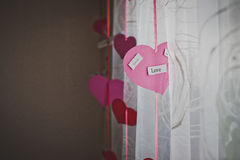 Hearts and curtains. Stock Image