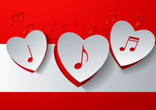 Hearts Cut from White Paper on Red Music Background Stock Photos