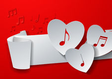 Hearts Cut from White Paper on Red Music Background Stock Images