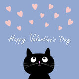 Hearts and cute cartoon cat. Flat design style. Happy Valentines day card. Rose quartz serenity color background Royalty Free Stock Photos