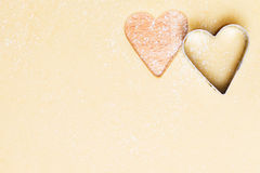 Hearts cutted out of dough Royalty Free Stock Photo
