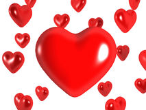Hearts. 3D image of hearts, isolated on white Stock Photo