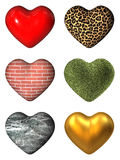 Hearts. 3D hearts mapped with different materials and textures Stock Photos