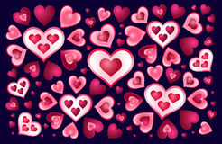Hearts on a dark background Royalty Free Stock Image