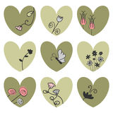 Hearts decorated with flowers Stock Image