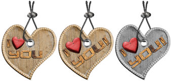 Hearts Decoration I Love You. Three wooden hearts with steel cable and written I Love You - isolated on white Stock Photography