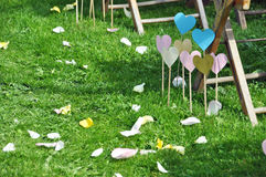 Hearts for decoration on lawn Stock Images