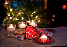 Hearts , decorations and christmas lights. Hearts christmas , christmas decorations , balls, stars, lights and crafts for the Christmas tree and set the mood for Stock Image