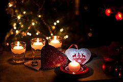 Hearts , decorations and christmas lights Stock Photos