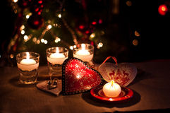 Hearts , decorations and christmas lights Royalty Free Stock Photos