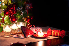 Hearts , decorations and christmas lights Stock Photography