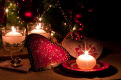 Hearts , decorations and christmas lights Royalty Free Stock Photo