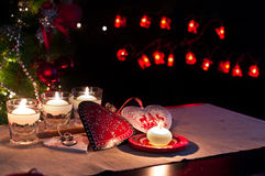 Hearts , decorations and christmas lights, merry christmas. Hearts christmas , christmas decorations , balls, stars, lights and crafts for the Christmas tree and Stock Photo