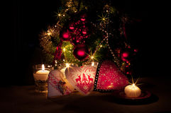 Hearts , decorations and christmas lights, merry christmas Royalty Free Stock Photography