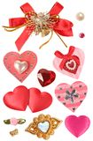 Hearts and decorative elements. Collection of hearts and decorative elements royalty free stock photography