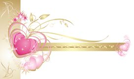 Hearts. Decorative frame. Wedding card. Vector illustration Stock Photo