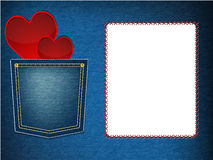 Hearts in denim pocket. Red hearts in denim pocket illustration Royalty Free Stock Image