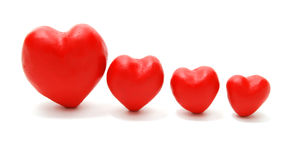 Hearts in Descending Order Stock Photography