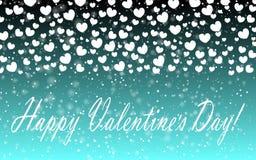 Hearts Design Background. Greeting Card Valentine Day. Vector illustration. Heart pattern. Falling Confetti. EPS 10. stock illustration