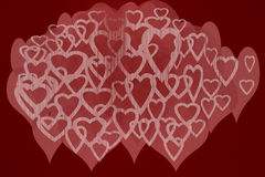 Hearts Design with Red Background Royalty Free Stock Photos