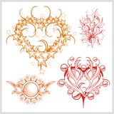 Hearts design for tattoo. Vector illustration. Stock Photo