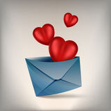 Hearts and develop. Volume three red hearts fly out of the envelope on a light background, eps 10 Royalty Free Stock Photo