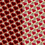 Hearts and diamonds. Set of geometric seamless pattern backgrounds of hearts and diamonds royalty free illustration