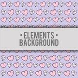 Hearts diamonds background elements design. Hearts diamonds elements background wallpaper cute fantasy fairytale female childhood dream icon. Colorful design vector illustration