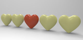 Hearts - Difference / Individuality Concept Royalty Free Stock Photos