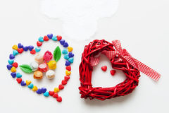 Hearts of different material on a white background Royalty Free Stock Image