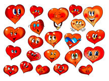 Hearts with different mimicry Royalty Free Stock Photography