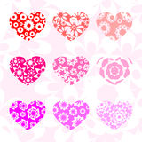 Hearts in different shades of pink with patterns Royalty Free Stock Photography