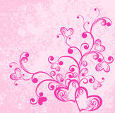 Hearts on dirty pink background. Vector Stock Photo