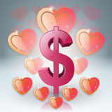 Hearts and dollar Valentines day. Dollar, money icon. Royalty Free Stock Photo