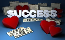 Hearts, dollars and success. Three dimensional illustration of red hearts, dollar piles and SUCCESS text made with white solid letters on blue background stock illustration