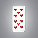 10 of hearts domino piece illustration. Design graphic vector illustration