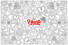 Hearts doodle set with red lettering Royalty Free Stock Image