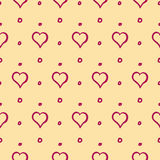 Hearts and Dots Cute Hand Drawn Seamless Pattern. Vector Stock Photography