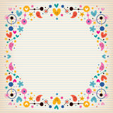 Hearts, dots, flowers and stars funky note paper frame border Stock Photography