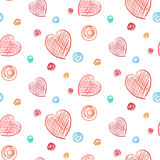 Hearts and Dots Simple Colored hand drawn background seamless pattern. Hearts and Dots Simple Colored hand drawnbackground seamless pattern Royalty Free Stock Photography