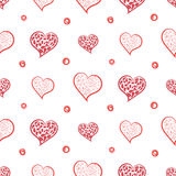 Hearts and Dots Simple hand drawn background seamless pattern.  Stock Image