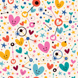 Hearts, dots and stars funky cartoon pattern Royalty Free Stock Images