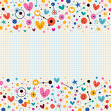 Hearts, dots and stars funky note paper retro background. Hearts, dots and stars funky background Royalty Free Stock Photo