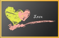 Hearts, drawing on blackboard Stock Photo