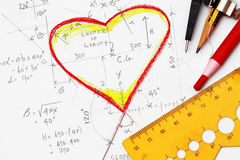 Hearts drawing with calculation Royalty Free Stock Photo