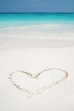 Hearts drawn in beach Royalty Free Stock Image