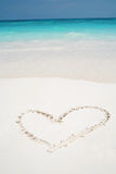 Hearts drawn in beach Royalty Free Stock Images