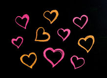 Hearts drawn on blackboard Royalty Free Stock Photo